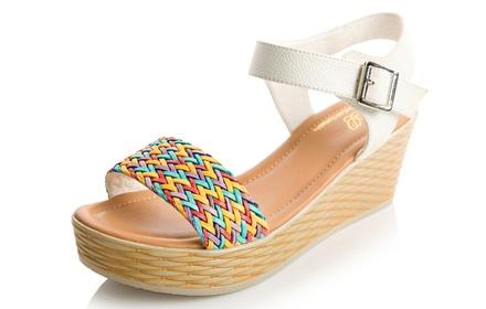 毅雅 波西米亚编织坡跟女凉鞋