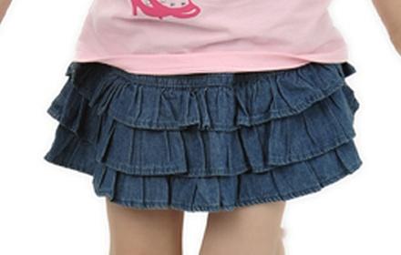蓝色女童牛仔短裙