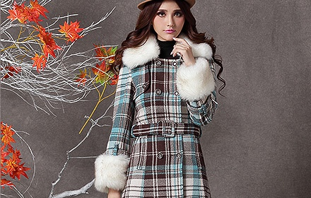 双排扣毛领羊毛呢外套