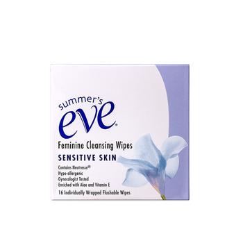 美国•夏依Summer's Eve女性清洁湿巾(敏感肌肤)16片/盒