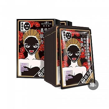 中国台湾•SEXYLOOK纯棉黑面膜系列 极美肌深层水润纯棉黑面膜28ml*5片/2盒