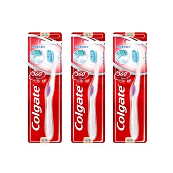 高露洁(Colgate)360度光感•白牙刷单支装*3