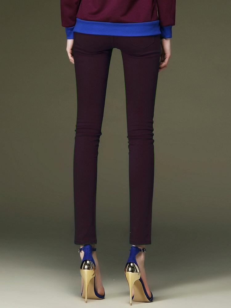 斐克迪思fxdis 深紫色铅笔裤 女 显瘦中腰小脚牛仔裤长裤