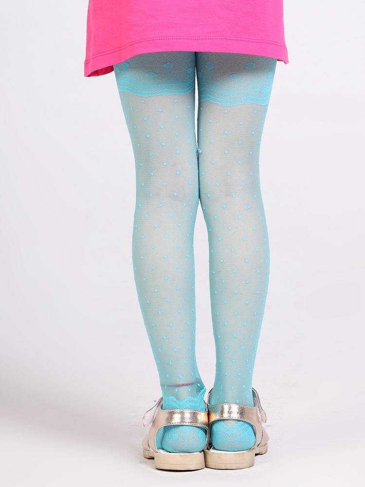 浪莎儿童长袜透视圆点蕾丝花纹连裤袜lw013