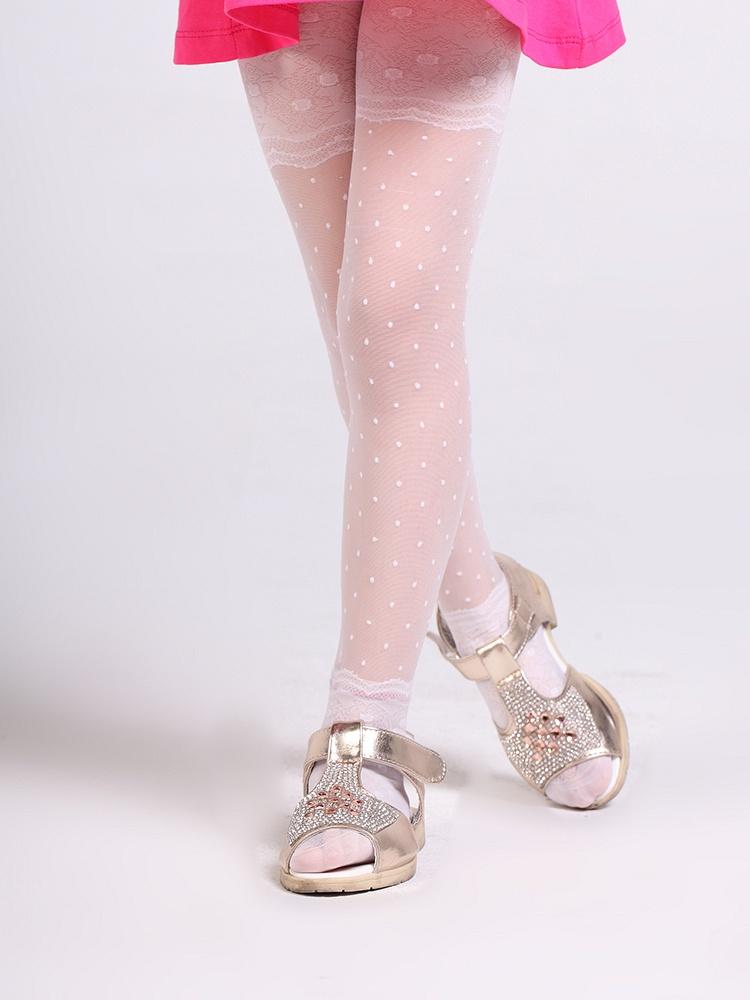 儿童长袜透视圆点蕾丝花纹连裤袜lw013
