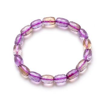 今上珠宝 紫黄晶刻面米珠手链