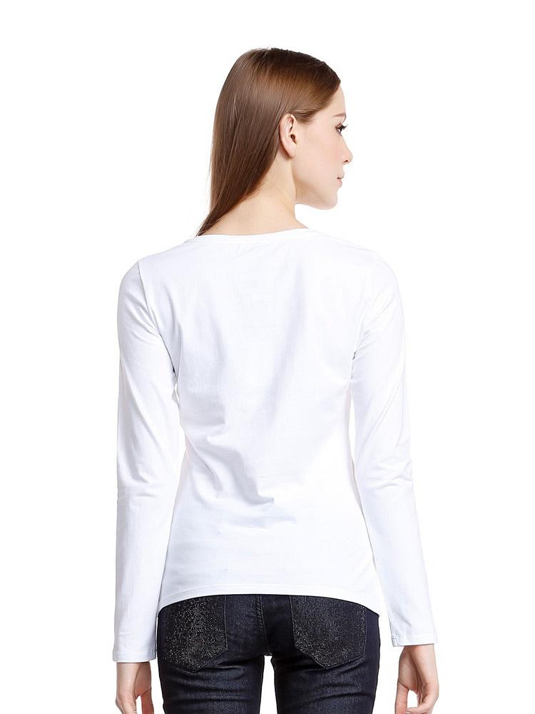 ARMANI JEANS 女士白色圆领长袖T恤 - 聚美优