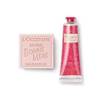法国•欧舒丹(L'OCCITANE)玫瑰护理经典两件套(玫瑰妈妈香皂100g+玫瑰皇后润手霜30ml)