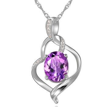柏荷 baiheS925银时尚优雅紫水晶吊