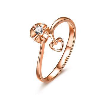 今上珠宝 18K金钻石戒指心形