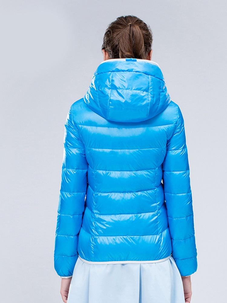 雪中飞迷彩拼接短款羽绒服蓝 - 聚美优品 - 最大