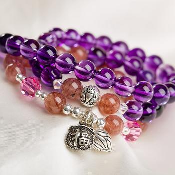 柏荷baihe紫水晶搭草莓晶925银手链