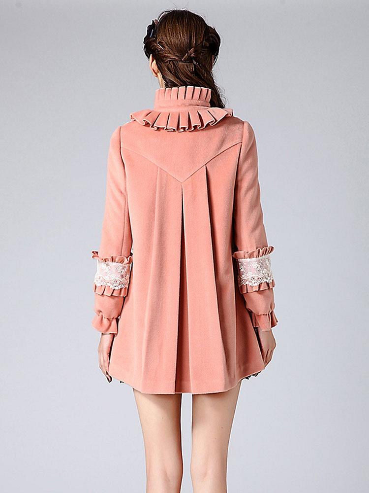 尤麦欧式复古女装2013冬春新款修身拉链宽松毛呢大衣