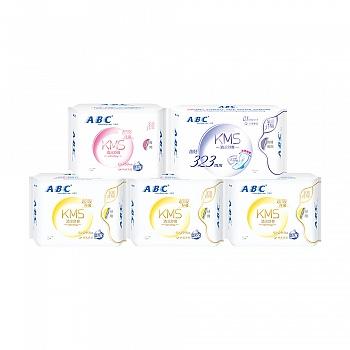 中国•ABC纤薄棉柔透气卫生巾日常装5包(日24片+夜8片+甜睡夜用3片)