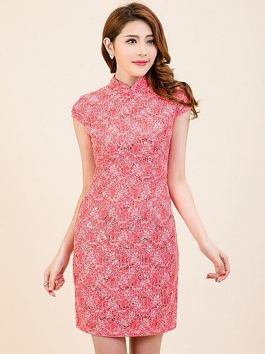 高贵典雅修身蕾丝旗袍连衣裙