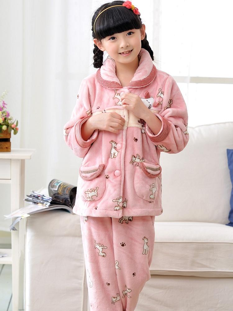 冬季新款加厚长袖可爱小女孩珊瑚绒儿童睡衣冬天家居