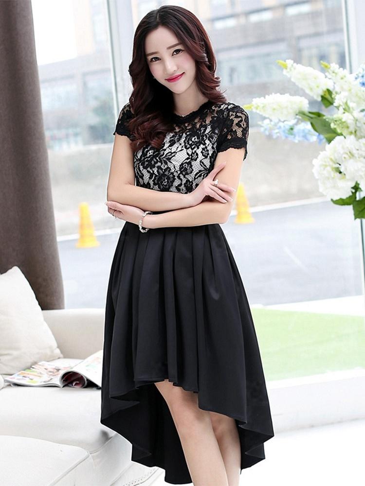 时尚韩版短袖蕾丝连衣裙