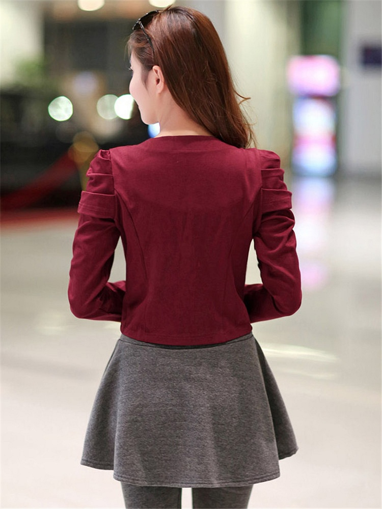 酒红色圆领短外套长袖修身显瘦百搭小外套