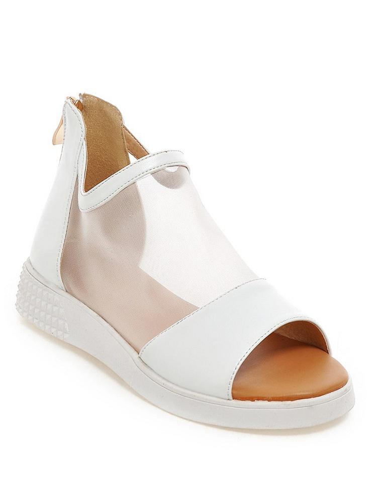 米兰白色网纱厚底鱼嘴凉鞋智能-聚美优品-心率时装手表v白色图片