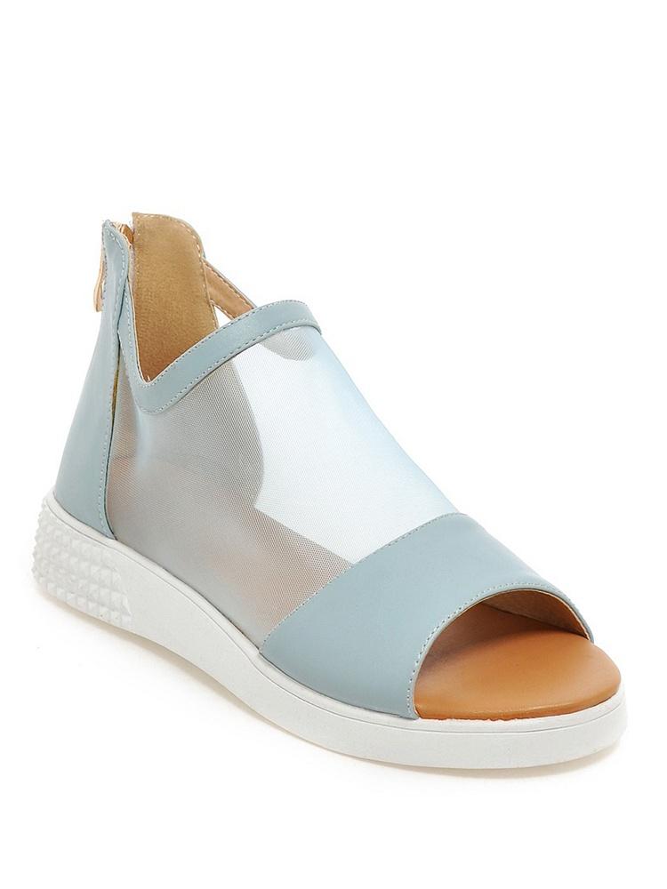 国际米兰凉鞋网纱厚底鱼嘴时尚蓝-聚美优品拉帮车图片