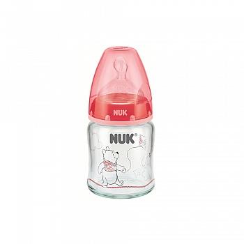 德国?NUK耐高温120ml宽口玻璃彩色迪士尼维尼奶瓶(带初生型硅胶中?#37096;啄套歟?#36866;合0-6个月)