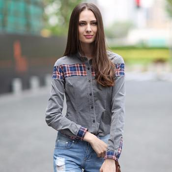 秋装新款灯芯绒修长袖衬衫烟灰色