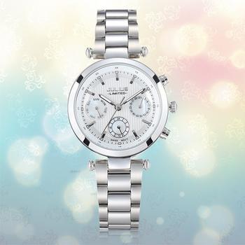聚利时精钢六针时尚潮流女士手表