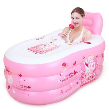 歐培親子充氣浴缸時光戀人藍粉色