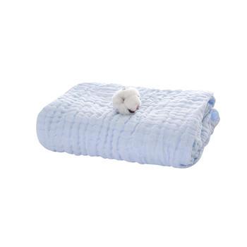 澳斯贝贝 婴儿6层纱布浴巾 浅蓝95*95cm