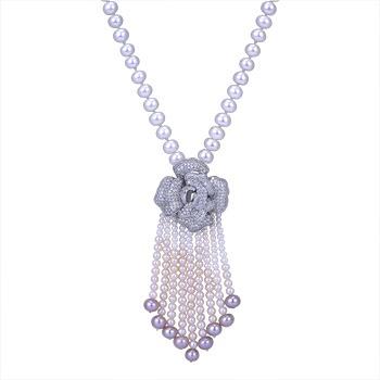 中国•简丹淡水珍珠7-8MM白玫瑰毛衣链