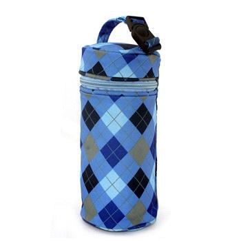 中国•兰多 格子保温袋奶瓶袋蓝色大号