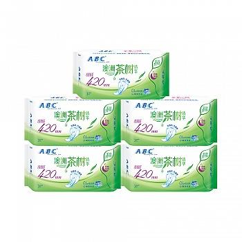 中国•ABC澳洲茶树亲柔立围轻透薄420mm甜睡夜用5包(15片)