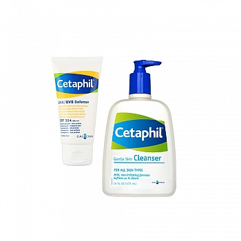 丝塔芙(Cetaphil)防晒净肌套装(倍护防晒乳SPF 30+/PA+++  50ml+洁面乳473ml)