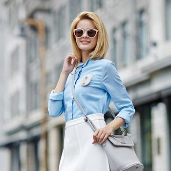 立领?#22836;?#39046;两穿衬衫浅蓝色