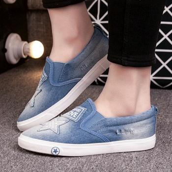 中国•韩版平跟厚底牛仔帆布乐福鞋