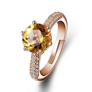 时尚经典六爪镶嵌黄水晶戒指