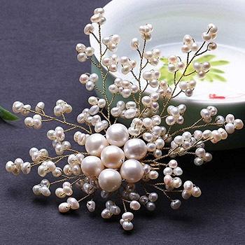 绽放 时尚手工编织珍珠胸花