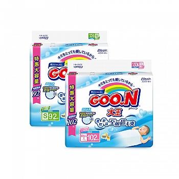 日本•GOO.N® 大王环贴式纸尿裤 维E系列 新生儿用102片 + S92片 电商专供