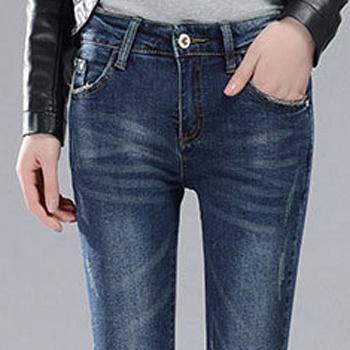 中国•新款韩版女裤C1911-16浅色泼漆牛仔