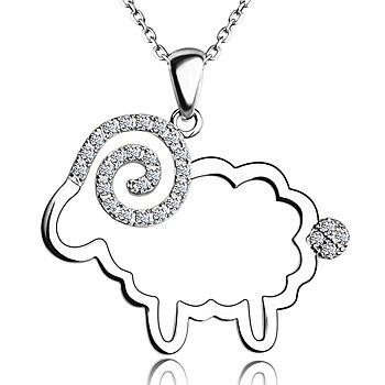 中国•小绵羊 S925银镶锆石吊坠