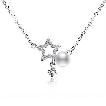 漂亮百合 925银淡水珍珠项链 幸运