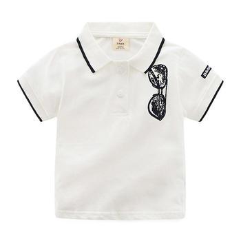 贝壳家族夏季男童墨镜翻领短袖T恤tx1333