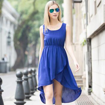 韩系燕尾连衣裙蓝色