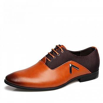 中国•承发商务英伦尖头皮鞋 棕色