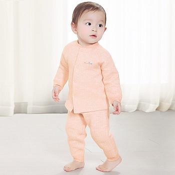 中国•优奇 婴儿彩棉前开襟套装 橙