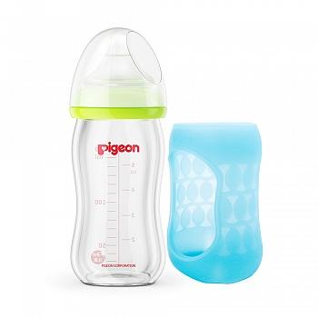 贝亲 自然实感宽口径玻璃奶瓶安心组合(160ml)-AA117(瓶帽绿色,奶瓶套 潜水蓝)