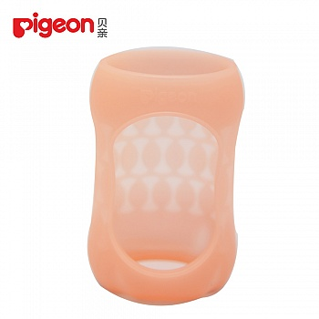 贝亲-宽口径硅胶奶瓶套(160ml)-西柚红