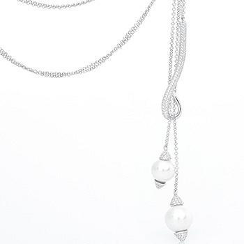 漂亮百合 银镶贝珠长项链毛衣链