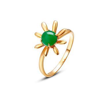 今上珠宝 幸福花18k金翡翠戒指