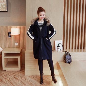 中国•蚕坊俪冬季孕妇带帽棉衣黑色